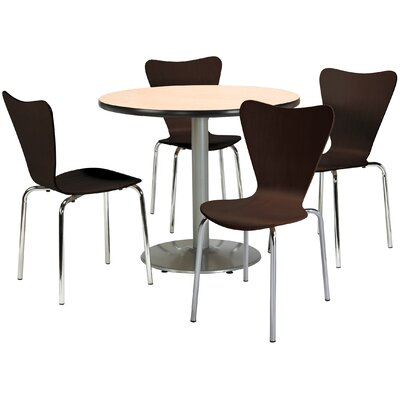 Round Cafeteria Table and Chairs Set Seat Color: Natural, Tabletop Color: Natural, Size: 42 W x 42 D