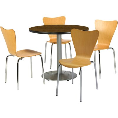 Round Cafeteria Table and Chairs Set Seat Color: Espresso, Tabletop Color: Walnut, Size: 42 W x 42 D