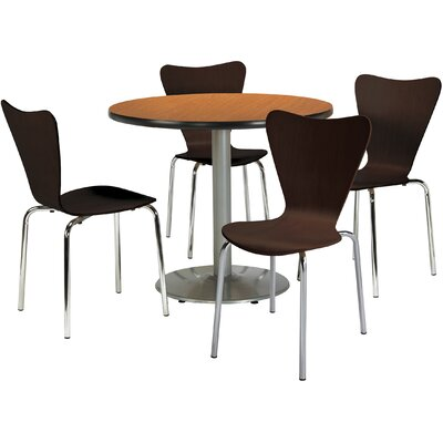Round Cafeteria Table and Chairs Set Seat Color: Natural, Tabletop Color: Medium Oak, Size: 42 W x 42 D