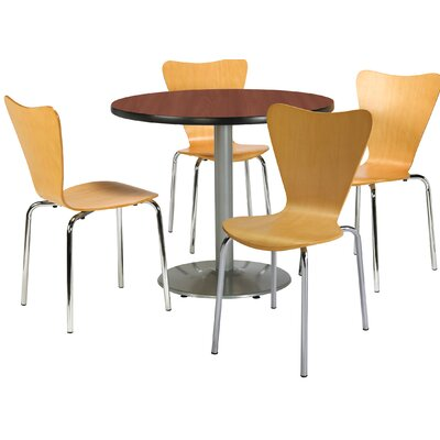 Round Cafeteria Table and Chairs Set Tabletop Color: Mahogany, Seat Color: Espresso, Size: 42 W x 42 D
