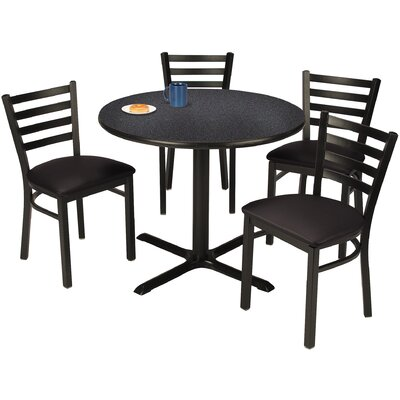 Round Cafeteria Table and Chair Set Seat Color: Navy, Tabletop Color: Medium Oak, Size: 36 W x 36 D