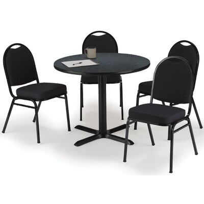 Round Cafeteria Table and Chair Set Seat Color: Burgundy, Size: 42 W x 42 D, Tabletop Color: Medium Oak