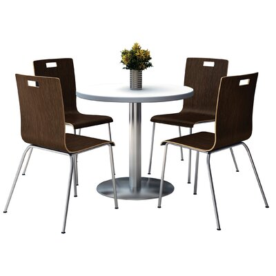 Round Cafeteria Table and Chair Set Size: 42 W x 42 D, Tabletop Color: Walnut, Seat Color: White
