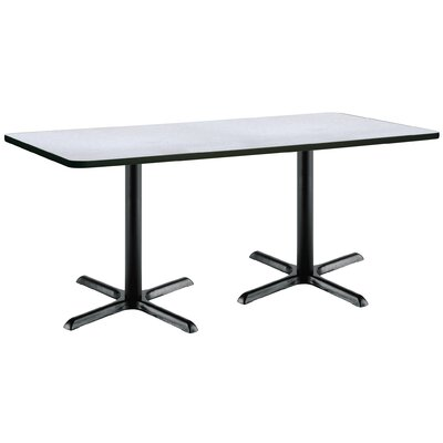 72 x 30  X-Base Pedestal Table Size: 29 H x 30 W x 72 L, Top Finish: Grey Nebula, Base Finish: Black