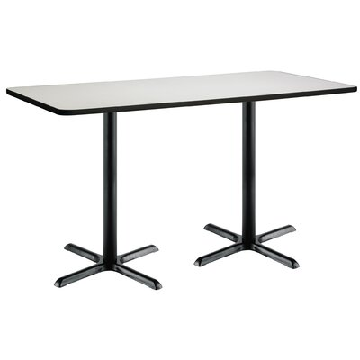 72 x 30  X-Base Pedestal Table Top Finish: Crisp Linen, Size: 42 H x 36 W x 72 L, Base Finish: Black