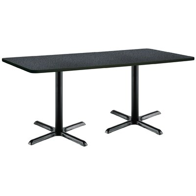 72 x 30  X-Base Pedestal Table Top Finish: Medium Oak, Size: 42 H x 30 W x 72 L, Base Finish: Black
