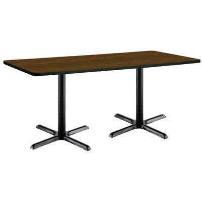 72 x 30  X-Base Pedestal Table Size: 29 H x 30 W x 72 L, Top Finish: Walnut, Base Finish: Black