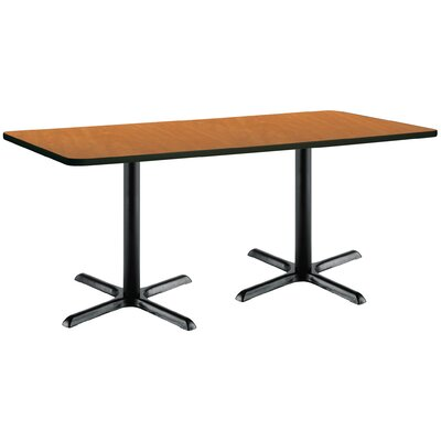 72 x 30  X-Base Pedestal Table Size: 29 H x 30 W x 72 L, Top Finish: Medium Oak, Base Finish: Black