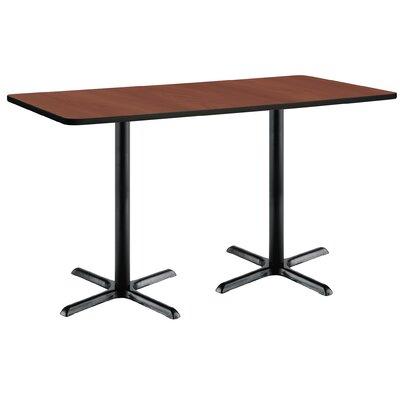 72 x 30  X-Base Pedestal Table Top Finish: Mahogany, Size: 42 H x 36 W x 72 L, Base Finish: Black