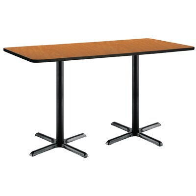 72 x 30  X-Base Pedestal Table Top Finish: Medium Oak, Size: 42 H x 36 W x 72 L, Base Finish: Black