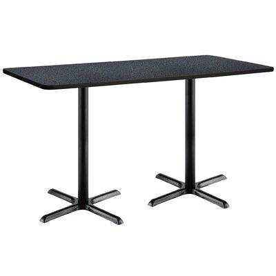 72 x 30  X-Base Pedestal Table Top Finish: Graphite Nebula, Size: 42 H x 30 W x 72 L, Base Finish: Black
