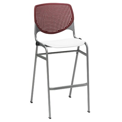 Lundell 30 Bar Stool Color: Burgundy/White