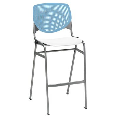 Lundell 30 Bar Stool Color: Sky Blue/White