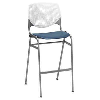 Lundell 30 Bar Stool Color: White/Navy