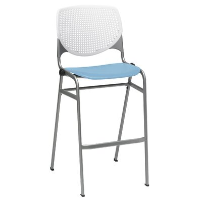 Lundell 30 Bar Stool Color: White/Sky Blue
