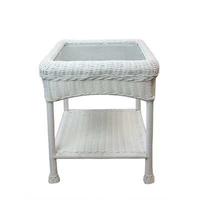 Resin Wicker Side Table Color: White