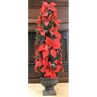 3' Red Artificial Poinsettia Potted Christmas Tree Color: Red