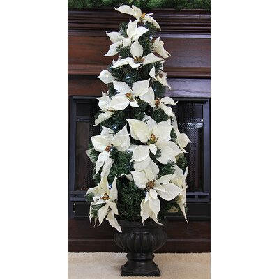 3' Red Artificial Poinsettia Potted Christmas Tree Color: White