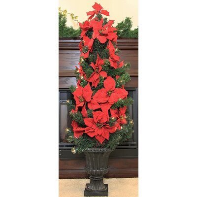 "46"" Pre-Lit Artificial Poinsettia Potted Christmas Tree Color: Red"