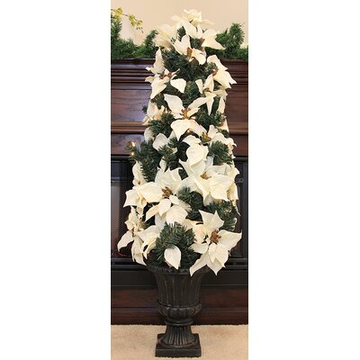 "46"" Pre-Lit Artificial Poinsettia Potted Christmas Tree Color: White"
