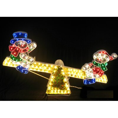 Sparkling Holographic Snowmen on See Saw Yard Art Christmas Decoration