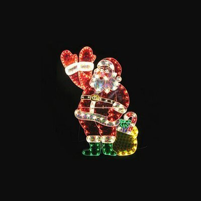 "48"" Holographic Lighted Waving Santa Claus Christmas Decoration"