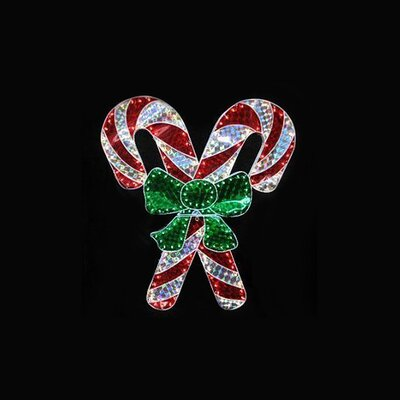 Holographic Lighted Double Candy Cane Christmas Decoration