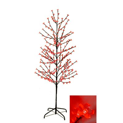 Enchanted Garden 6' Cherry Blossom Flower Christmas Tree with 280 LED red Lights ELD-96956-RED
