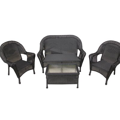 Resin Wicker Patio Furniture 4 Piece Deep Seating Group Finish: Black