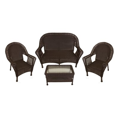 Resin Wicker Patio Furniture 4 Piece Deep Seating Group Finish: Brown