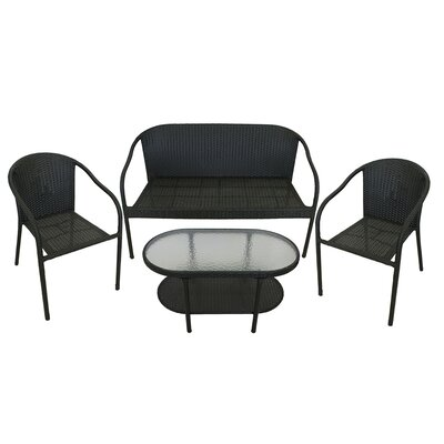 4 Piece Resin Wicker Patio Furniture Set Color: Black
