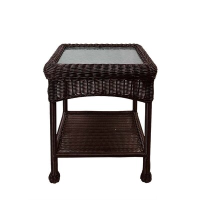 Resin Wicker Side Table Color: Brown