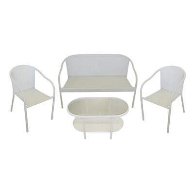 4 Piece Resin Wicker Patio Furniture Set Color: White