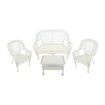 Resin Wicker Patio Furniture 4 Piece Deep Seating Group Finish: White