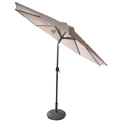 9 Market Umbrella Fabric: Taupe/White