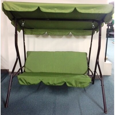 3 Seat Sage Pad Porch Swing With Canopy Cushion Fabric: Sage Green