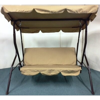 3 Seat Sage Pad Porch Swing with Canopy Cushion Fabric: Taupe Beige