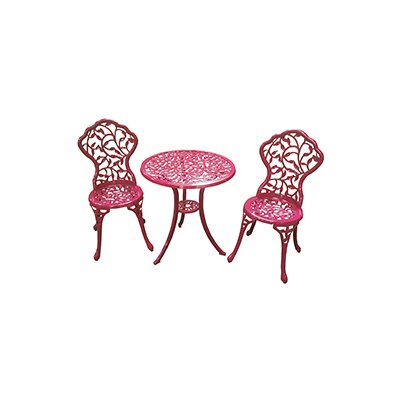 Chicopee 3 Piece cast aluminum bistro set Finish: Geranium