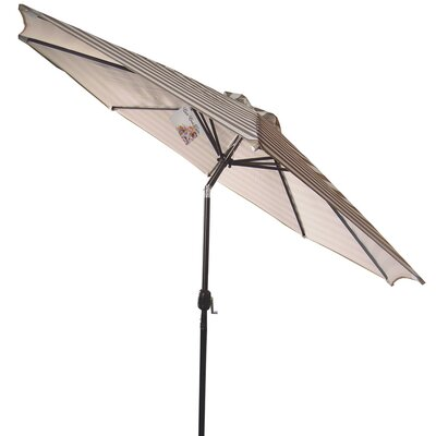 9 Market Umbrella Fabric: Taupe/White