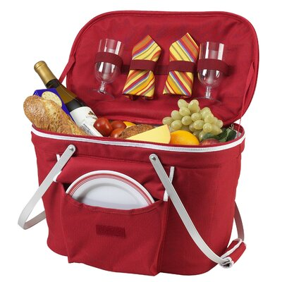 Collapsible Insulated Picnic Basket with Two Place Settings Includes: 2 Plate Settings, Color: Red