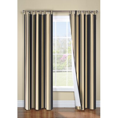 "Thermalogic Weathermate Broad Stripe Cotton Tab Top Drape Pair - Size: 84"" H x 160"" W, Color: Black at Sears.com"