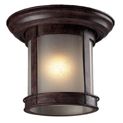 1-Light Flush Mount Finish: Weathered Bronze, Shade Type: Frosted Seedy