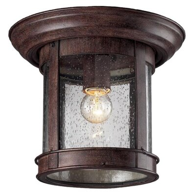 Crosstown 1-Light Flush Mount Color: Weathered Bronze, Shade Type: Clear Seedy