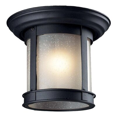 1-Light Flush Mount Finish: Black, Shade Type: Frosted Seedy