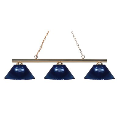 Sharp Shooter 3-Light Kitchen Island Pendant Finish: Polished Brass, Shade Color: Dark Blue