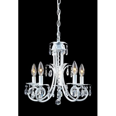 Pearl 5-Light Candle-Style Chandelier Frame Finish: White