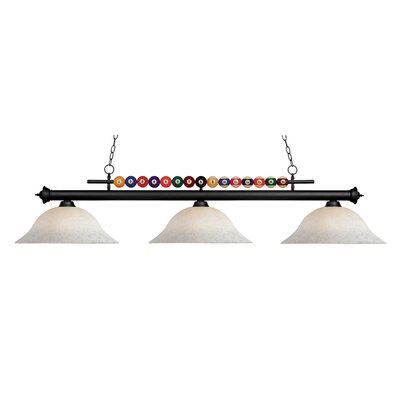 Chapa 3-Light Pool Table Light Finish: Matte Black