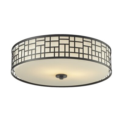 Hummer 3-Light Flush Mount Finish: Bronze, Size: 6.50 H x 20.50 W