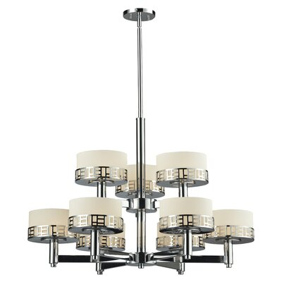 Elea 9-Light Drum Chandelier Finish: Chrome