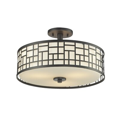 Hummer 3-Light Semi Flush Mount Finish: Bronze, Size: 10.25 H x 16.25 D